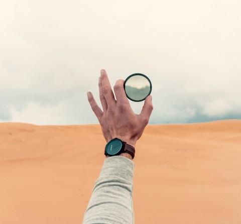 viewing desert through lens