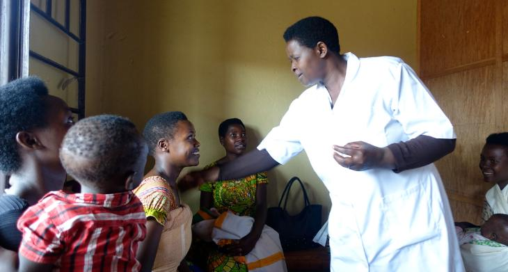 healthcare worker with clients